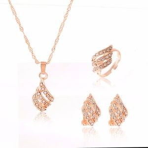 Jewelry Set Necklace Ring and Earrings Gold Plated